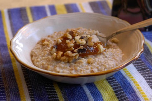 Steel cut oatmeal with fig & walnuts