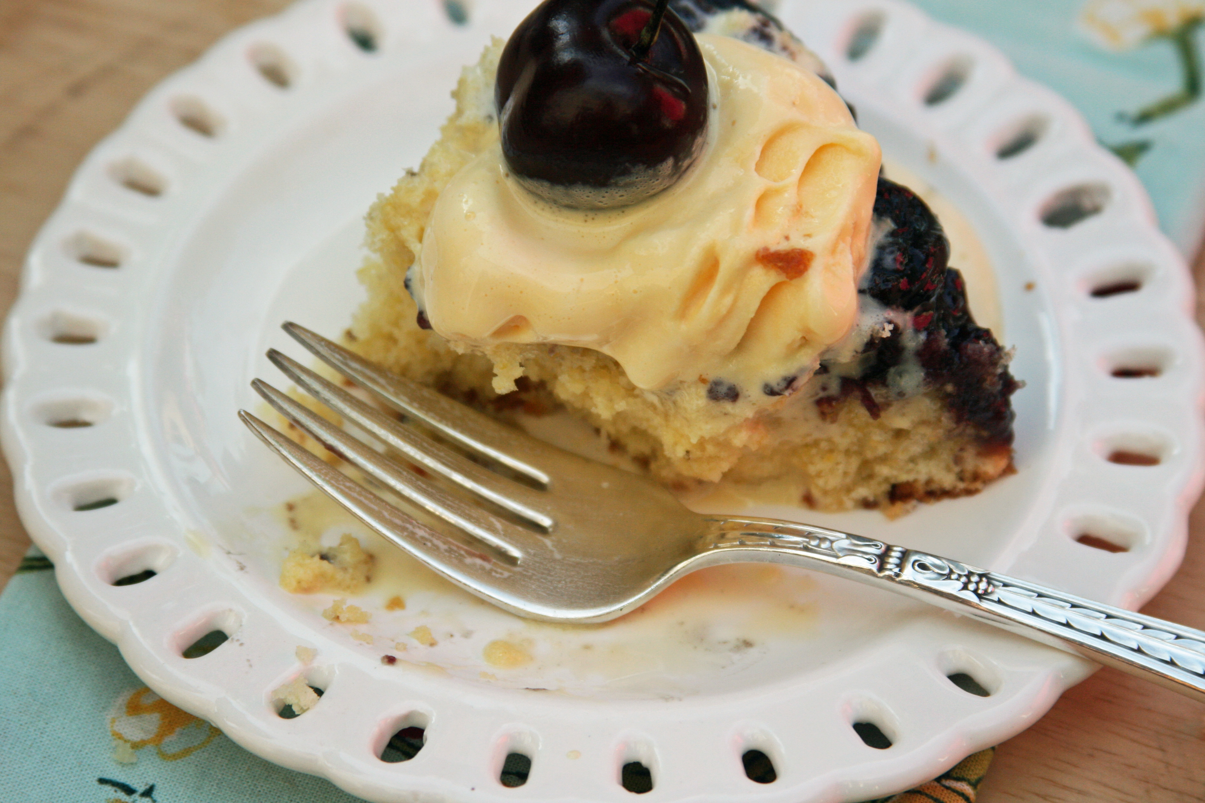 Hodgson Mill Recipe Blog | Cherry-Cornmeal Upside-Down Cake