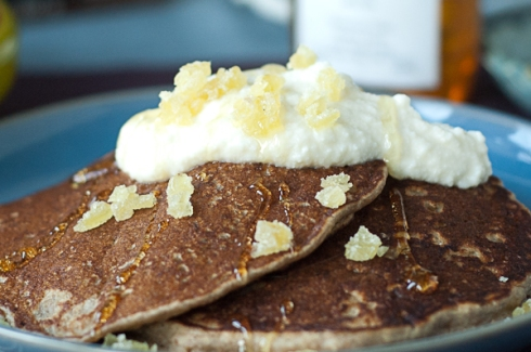 Pear Buckwheat Pancakes with Honey-Ricotta and crystallized ginger