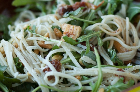 finished linguine with artichoke, arugula, sun-dried tomatoes, parmesan, and pine nuts. Yum.