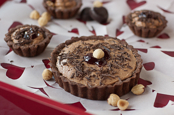 gluten-free chocolate tart with chocolate hazelnut mousse, ready for ...