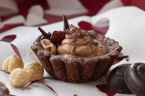 gluten-free chocolate tart shell with hazelnut mousse, chocolate ...