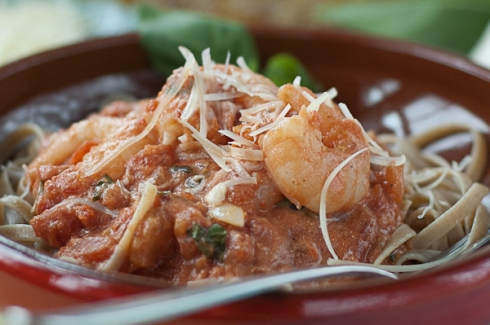 Spicy Basil Shrimp in tomato cream sauce