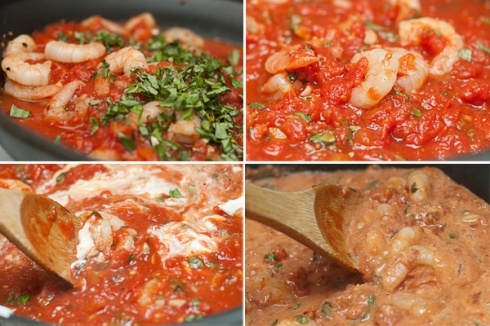 adding tomato, basil, & sour cream for sauce