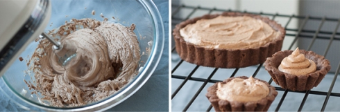 gently whipping in whipped cream, and filled chocolate tartlet shells