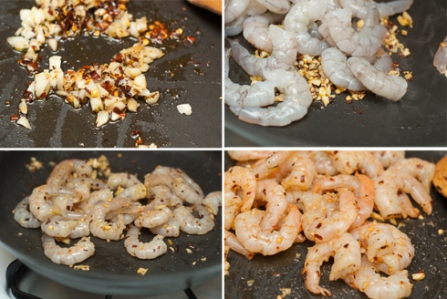sauteing spicy garlic, cayenne, shrimp