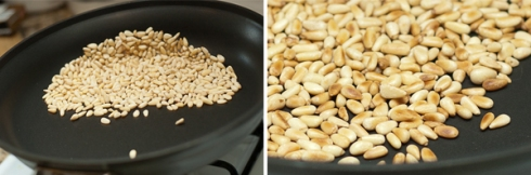 toast pine nuts in a hot pan until browned