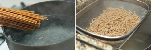 whole wheat fettucine cooking and draining